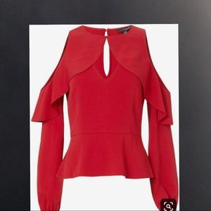 INTERMIX sienna cold shoulder top red BNWT
